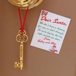 "Provide Santa with easy access into your home when you do not have a chimney with our Personalized Santa Key. Leave Santa his own ""key"" into your home with a personal message from the kids welcoming Santa in with love. Santa will be very grateful for this handy Personalized Santa Key! Your Custom Santa Key measures 2 1/2"" x 3/4"" and includes an attractive red loop for hanging on the door knob. Each key includes a personal note from the kids which measures 2"" x 2 1/2"". Double-sided tape is included on the back of the note for easy placement on your front door. Includes FREE Personalization. Personalize your Santa Key Note with any two line custom message. (ie. Love, / Halley and Nico)"