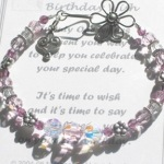 "Our 21st Birthday Wish bracelet is designed to help celebrate that special number 21. Made with swarovski crystals and bali sterling silver. Each bracelet comes with the special Messages of Love Poem as shown below. Choose between the standard color as shown or a birthstone. Standard size approx. 7 1/2""."