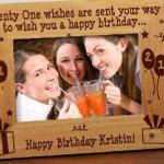 21 Wishes are sent your way...Celebrate a special 21st birthday with our personalized wooden frame. The keepsake frame can be engraved with a personalized message at the bottom of the frame.