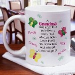 Personalized Grandmother Mug - Personalized Love Coffee Mug There is no question you think you have the most beautiful people in your life. Show them your true feelings with our Personalized Made of Gold Coffee Mug. This Personalized Love Coffee Mug has a beautiful poem that will warm Grandmas heart. Our Personalized Ceramic Coffee Mug is Dishwasher safe and holds 11 oz. Includes FREE Personalization! Personalize your Coffee Mug with any title and up to 30 names.