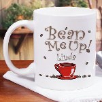 "All you need is the beans brewed to be sipping coffee from our Personalized ""Bean Me Up"" Gift Coffee Mug. Our Ceramic Coffee Mug is Dishwasher safe and holds 11 oz. and is great for anyone who enjoys their java."