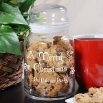 Personalized Merry Christmas Cookie Jar - Engraved Happy Holidays Glass Jar Christmas time is the perfect time for sharing family treats and goodies. Why not give all of your neighbors and close friends a Personalized Merry Christmas Cookie Jar filled with your world famous cookies as a thoughtful Personalized Christmas Gift.