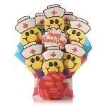 Celebrate Nurses Day with a tasty treat. Made from delicious buttery shortbread cookies, baked fresh each day and individually hand-decorated. Each bouquet is wrapped and packaged with delicate care to insure it arrives safe and sound into your recipients hands.