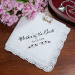 "Give the ladies assisting in your wedding Personalized Wedding Handkerchiefs to prepare them for your beautiful event. Personalized Hankies are one-of-a-kind Personalized Gifts perfect for your Mom to the Flower Girl.  Our Personalized Bridal Party Hankies are available on our 13""square Crochet Lace handkerchief. Soft to the touch. Machine Washable. Includes FREE Personalization! Personalize your Wedding Handkerchief with any name or title and wedding date."