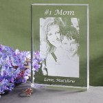 Let your Mom, Grandma, Nana or Granny know she is Number One in your heart with our Personalized Mom Photo Keepsake. A lovely personalized gift for Mothers Day featuring your favorite digital photo beautifully engraved into this heavy, crystal clear keepsake made just for her.