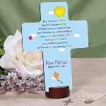 Our engraved Childrens Prayer Cross with the Morning prayer is a thoughtful gift idea to give to a new baby, as a gift for a baptism, christening or even a first birthday. Celebrate a special event with a godchild, grandchild, family member or friend. Poem Reads: Now before I run to play, let me not forget to pray to my God who kept me Through the night and woke me with the morning light. Help me Lord to love thee more than I have ever loved before. In my work and in my play please be with me throughout the day. Amen.