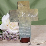 "Celebrate a special occasion with a thoughtful gift idea. Our personalized prayer cross is a keepsake gift for a christening/baptism/dedication gift as well as a First Communion or gift for new baby. Personalize with the event, date and a name. Cross measures 6 7/8"" L x 5 1/4"" W. Wooden cross stand is included with every Baptism cross. Printed on a composite base and lacquer style finish for long-lasting quality."