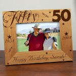 "Our Personalized 50th Birthday frame will be the hit of the Party! Our Personalized Happy Birthday Picture Frame measures 8 3/4""x 6 3/4"" and holds a 3½""x5"" or 4""x6"" photo."
