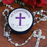 Personalized My Communion Keepsake Box & Rosary - Engraved Rosary & Case for First Communion Saying the Rosary & receiving First Communion is a beautiful event for family & friends to see & enjoy. Celebrate this joyous occasion by giving your child a Personalized First Communion Keepsake Rosary case with Rosary included.
