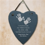 The love between Mother and child is something that withstands the tests of time. From a newborn your Mom has been the strength and heart guiding you each and every day. Present to your Mother a thoughtful Personalized Wall Hanging expressing the love you have for her. Our Personalized Mothers Day Heart Wall Hanging is a perfect personalized gift for your Mom on Mothers Day. Slate Heart Wall Hanging reads: A Mother holds her childrens hands for a little while but their hearts forever!
