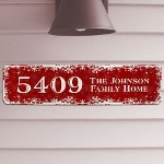 Personalized Christmas Home Address Sign - Unique Christmas Street Sign Decorate the outside of your home in festive Christmas colors and proudly display your home address with a Personalized Christmas Address Sign. A wonderful finishing touch to any home decorated in the Christmas spirit.