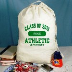 Personalized Class of 2010 Laundry Bag - Personalized School Laundry Bag Just because they are out of the house doesnt mean they do laundry. Create a good, clean gift for any college student or apartment resident they will appreciate. Be sure to fill it with detergent and quarters for inspiration. Our Custom Laundry Bag makes a unique gift idea for graduation from high school or going away to college.