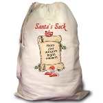 "Whether toting presents to a Holiday party or for Christmas morning, our Santas List Sack will get the job done with a very festive, personal touch! Our natural cotton bag measures 18"" x 28"" with drawstring closure and web shoulder strap; machine washable. Our Santas List Sack includes FREE Personalization! Personalize your Bag with up to 30 Names. Makes a great addition to your holiday home decor - fill it with gifts by the tree, not to be opened before Christmas Eve!"
