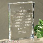 "Our Personalized ""Happy Anniversary"" Elegant Anniversary Gift Keepsake stands 4"" x 6"" with soft scalloped edges measuring 1"" thick. Includes FREE Personalization! Personalize with any name at the top and any two line custom message at the bottom."