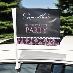 Let everyone know the party has arrived with our Damask Bachelorette Car Flag. Fashioned in durable polyester and personalized free of charge, this super fun car decoration comes complete with attachable flag pole and accent color of your choice! Whether your bridal entourage chooses to travel uptown or downtown, this custom flag will create a wave of girls night out excitement! Set includes personalized flag, attachable flag pole and instructions for use.