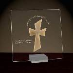 "This beautiful glass plaque has rounded corners and is decorated with a beautiful dove and cross made of stone resin. The plaque reads ""…grow in the grace and knowledge of our Lord"" and can be personalized with two additional lines of text. Acrylic display stand is included. Plaque measures 6 1/2"" x 6 1/2""."