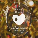 Remember beloved family & friends with our Forever In Our Hearts Personalized Memorial Oval Glass Ornament. Memories of loved ones are a cherished part of Christmas or any time of year. Remember those who have passed is a time honored tradition.