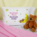 "Your little one will sleep comfortably through the night with our fun personalized pillowcases. Make sure you get one for everyone attending your childs next birthday sleepover party. Our Personalized Goodnight pillowcase is available on our premium 55/45 Cotton Poly Blend for strength and durability Pillowcase. Made in the USA. Pillowcase fits any standard/queen sized pillow and measures 20"" x 32"" with 180 TPI. Soft to the touch. Machine Washable. Includes FREE Personalization! Personalize your Goodnight Pillowcase with any name."