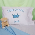 "Your Little Prince will sleep like a King on this handsom Personalized Pillowcase. Sweet dreams and pleasant mornings will great your Little Prince daily. Our Personalized pillow case is available on our premium 55/45 Cotton Poly Blend for strength and durability Pillowcase. Made in the USA. Pillowcase fits any standard/queen sized pillow and measures 20"" x 32"" with 180 TPI. Soft to the touch. Machine Washable. Includes FREE Personalization! Personalize your Little Prince Pillowcase with any name."