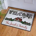 "Our Welcome House Doormat will make everyone who visits feel the warmth and love of your family home when they set foot on this great doormat. Doormat measures 18"" x 24"". This item is 20 oz Loop, Durgan Backed with Black Edges. Includes FREE Personalization! Personalize your Doormat with any Family Name."