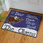 Personalized Santa Door Mat - Personalized Christmas Doormat Santa will be in an extra jolly mood when he sees you have a Personalized Doormat just for him. Dont be surprised if Santa leaves you something a little extra under the Christmas tree because of your fun, Personalized Santa Doormat.