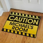 "Let em know to be careful when they are stepping into with your domain. Everyone will be sure to Knock before entering your room. Doormat measures 18"" x 24"". This item is 20 oz Loop, Durgan Backed with Black Edges. Includes FREE Personalization! Personalize your Doormat with any name."