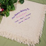 Proudly display the love you feel for Grandma, Mom, Aunt or any special person in your life with this attractive Our Hearts Personalized Afghan. This comfy Embroidered Throw wraps you in thick layers of softness as you enjoy a cool evening next to the fireplace.