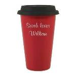 Personalize a coffee cup as a useful gift idea for a friend, co-worker, boss or business professional. Our Red Porcelain Coffee Cup is a modern, eco-friendly coffee cup look-a-like designed for the special on-the-go person in your life! Designed with double walled porcelain to prevent from burning your hands and that means 11 oz of coffee will be sure to stay warm!