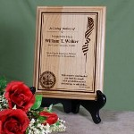 "Honor your loved one who has made the ultimate sacrifice for this great nation by creating a Personalized Military Memorial Plaque as a fond remembrance for the entire family. Each engraved memorial plaque is personalized with the utmost care & craftsmanship making this the perfect gift on Memorial Day. Each Engraved Military Memorial Plaque measures 7"" x 9"" and and has slotted holes for easy mounting. Makes a honorable Wall Sign or you may also like our Black Easel for a great desk display. Includes FREE Personalization. Personalize your Military Memorial Wood Plaque with the military rank, name, birth date, rest date and any 3 line custom message. Please choose military logo. Military Rank, Name, Birthdate, At Rest Date, Custom Message"