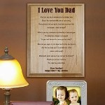 "Express your true feelings for your Dad, Grandpa, Papa or Uncle with our handsome Engraved Wood Plaque. Our Engraved Wood Keepsake makes a perfect gift for Fathers Day, Grandparents Day, Birthday, Christmas and just because! Includes FREE Personalization. The Fathers Day wood plaque measures 7""x 9"" and has slotted holes for easy mounting. Makes a great Wall Sign or you may also like our Black Easel for a great desk display. Personalize your Fathers Day Wood Plaque with any title and any two line custom message."