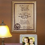 """Now you can express how you feel to the soldier in your life with this attractive Personalized Military Wood Plaque. This beautifully Engraved Plaque is a perfect gift for Memorial Day, Veterans Day, Birthday or just because. Each Soldiers Prayer Plaque measures 7"""" x 9"""" and has slotted holes for easy mounting. Makes a great Wall Sign or you may also like our Black Easel for a great desk display. Includes FREE Personalization. Personalize your Soldiers Prayer Wood Plaque with any 3 line custom message. Please choose military logo."""