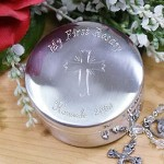 "Saying the Rosary & receiving First Communion is a beautiful event, to be cherished forever. Celebrate this joyous occasion by giving your child their very own Personalized First Rosary Case. This rhodium First Rosary Case makes a unique holder for a cherished rosary (sold separately). Measures 1 3/4"" x 1 1/2"". Our Personalized First Rosary Case Comes with the words My First Rosary and cross. Personalize this beautiful first rosary case with any name or initials and year."
