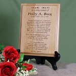 "This beautifully Engraved Memorial Plaque is a thoughtful & unique memorial gift. When days are difficult this kind memorial poem is sure to uplift your heart and bring a fond memory of your family member or close friend. Our Personalized In Loving Memory Memorial Wood Plaque measures 7"" x 9"" and has slotted holes for easy mounting. Makes a great Wall Sign or you may also like our Black Easel for use as a desk display. Includes FREE Personalization! Personalize your In Loving Memory Memorial Wood Plaque with any name and dates. Please specify he or she for the poem or Create Your own Poem, up to 20 lines."