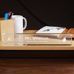 Create the perfect desk accessory for your childs teacher that looks great and is very functional all school year. Your Personalized Teacher Desk Name Plate is beautifully engraved for optimal presentation. A wonderful thank you gift for your favorite classroom teacher.