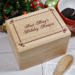 "Personalized Holiday Recipe Box - Engraved Christmas Kitchen Recipe Box Give your Grandma, Mom or favorite Aunt her very own Personalized Holiday Recipe Box to safely store all of her most precious Holiday recipes. From her secret Christmas pie recipe to the special way she prepares a holiday turkey are all in one location and ready for the busy holidays. Our Engraved Christmas Recipe Box measures 6.25"" x 4.50"" x 4.25""H and holds up to 1000, 4"" x 6"" recipe cards. Engraved Wooden Recipe Box includes FREE Personalization. Personalize your Holiday Recipe Box with any name."