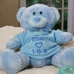 The arrival of your handsome baby boy is a momentous occasion for the entire family. Present your little angel with his very first personalized teddy bear by giving him our Embroidered Blue Teddy Bear featuring his name and birth date. Your newest little boy will love looking at this soft and friendly teddy bear all day long.