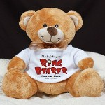 "Give our Personalized Ringbearer Teddy Bear to the little man in your wedding. He will enjoy taking a quick nap & even dancing with his new found friend while everyone gets to see a smiling & happy ring bearer. Your Custom Plush Ring Bearer Teddy Bear measures 8"" tall. Each soft teddy bear is surface washable and safe for all ages. Includes FREE Personalization. Personalized with any couples names and wedding date."