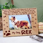 "Personalized Dog Memorial Picture Frame - Engraved Memorial Keepsake Frame Your lovable Canine brought much joy & happiness to your home; honor your familys companion by keeping a favorite photo of your dog in this attractive Personalized Dog Memorial Picture Frame. Our Personalized Memorial Wood Picture Frame measures 8 3/4"" x 6 3/4"" and holds a 3½"" x 5"" or 4"" x 6"" photo. Easel back allows for desk display. Includes FREE Personalization! Personalize your Dog Memorial Picture Frame with any name."
