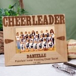 A picture of your cheer team looks great in this Personalized Cheerleading Picture Frame. Our Personalized Cheerleading Picture Frame makes a unique gift idea for any cheerleading team or coach and birthday or holiday gift idea.