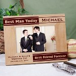 "Personalized Best Man Picture Frame - Engraved Best Man Picture Frame Let your Best Man know he will always be your Best Friend Forever with his own Personalized Best Man Picture Frame. A classic Personalized Gift your best man is sure to enjoy and remember the day his best friend said I do. Our Engraved Best Man Picture Frame measures 8 3/4"" x 6 3/4"" and holds a 3½"" x 5"" or 4"" x 6"" photo. Easel back allows for desk display. Wedding Party frame includes FREE Personalization!"