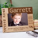 "Personalized Ring Bearer Wood Picture Frame - Engraved Wedding Party Picture Frame Honor your cutest & littlest helper with a thoughtful Personalized Ring Bearer Picture Frame. This a fun gift he will love especially if your include a favorite photo of the ring bearer & the groom. Our Personalized Ring Bearer Wood Picture Frame measures 8 3/4"" x 6 3/4"" and holds a 3½"" x 5"" or 4"" x 6"" photo. Easel back allows for desk display. Includes FREE Personalization! Personalize your Ring Bearer Wood Picture Frame with any Ring Bearers Name, Bridal Couples Name and Wedding Date. *please allow 2-3 business days for processing prior to shipping*"