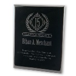 "Honor someone who deserves recognition for the years of employment with your company in a distinguished manner with our black acrylic years of service plaque. Truly sophisticated, this employee years of service award or plaque reads ""In appreciation of your hard work and dedication. You have been a value asset. Thank you for your contribution."" Personalize this years of employment plaque in distinctive black, adding the years of service, name and date of the recipient. This business gift will make a lasting impression that will never be forgotten. Measures 7"" x 9"", perfect for display."