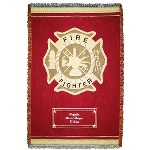 "This handsome firefighter throw is a comfy way to honor your favorite firefighter. Each red and gold throw blanket features the firefighters seal and can be customized with the firefighters name and engine number, making it a fitting choice in personalized gifts. These 46"" by 60"" throws are made of 100 percent cotton, and are customized with embroidery."