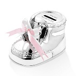 "Give the tradition of saving early, with this sweet and sentimental keepsake money bank. Shaped like a baby bootie, this silver-plated baby gift can be personalized with the babys name and birth date. These traditional gifts for babies measure 5.75"" by 3.75"" by 3.75"" and feature real white or pink ribbons for the perfect finishing touch. This newborn baby gift is a great way to commemorate a childs birth, and to ceremoniously begin the process of putting money away for all of babys needs! This child's money bank is an excellent present for Christmas, Baby Showers and other occasions."
