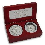 "Impress any business associate, professional colleague, special client or loyal customer with this elegant clock and compass gift box idea. The truly unique wooden box features a highly distinctive rosewood finish, with real working clock and compass, both inset and with polished silver detailing. This clock and compass business gift also includes a personalization plate within the inside of the box lid. This makes a highly memorable choice in engraved business presents. This gift is also perfect for including your company name and/or corporate logo. Overall size of 4"" x 5 1/2"" x 3"". This Clock and compass box gift will be sure to make a long lasting memory."