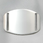 "This Surgical Stainless ID Bracelet Plaque fits on any of our interchangeable sport straps or faux leather straps. When engraved with a name or logo it makes a great sporty ID bracelet or corporate identification piece. Plaque can be purchased separately. Made of 316L Surgical Stainless Steel. Most medical bracelets on the internet are usually 304 Stainless. Although both are hypoallergenic 316L is non-corrosive. It is also known as ""marine grade"" stainless steel due to its increased resistance to chloride corrosion compared to type 304."