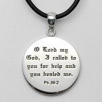 The old testament story of King Hezekiah reminds us that when we pray for healing and have those prayers answered, God expects us to give Him the glory. The Healed By God pendant is stamped with the words from Psalm 30:2, I cried out to the Lord for help, and He healed me.
