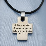 The old testament story of King Hezekiah reminds us that when we pray for healing and have those prayers answered, God expects us to give Him the glory. The Healed By God cross pendant is stamped with the words from Psalm 30:2, I cried out to the Lord for help, and He healed me.