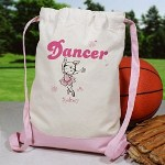 Show off your little ones ballerina techniques with her very own Personalized Dancer Sports Backpack. Our Custom Sports Backpack is helpful to keep ballet slippers, leotard and tights all in one place. With this cute and adorable ballerina design your little girl will be organized and on time for every lessons.