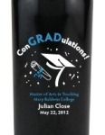 Graduation is just around the corner! Need quick and thoughtful wine gift ideas for the hardworking graduate? Look no further than personalized etched wine bottles. Congratulate your graduate for completing their degree with a customized etched bottle of champagne or wine gift marking their achievement (non-alcoholic options available for the graduate not of age). Record your graduates transition in life on a personalized and etched wine or champagne bottle so they can remember their accomplishments forever. Each etched wine or champagne bottle is exquisitely etched and engraved, then skillfully hand-painted, creating a stunning piece of artwork for you or your lucky recipient! Then each etched wine or champagne bottle is custom personalized with any message you choose.